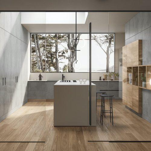 Porte_Garofoli_Porta-a-scorrimento-vetro-e-porta-filo-muro-cucina-moderna